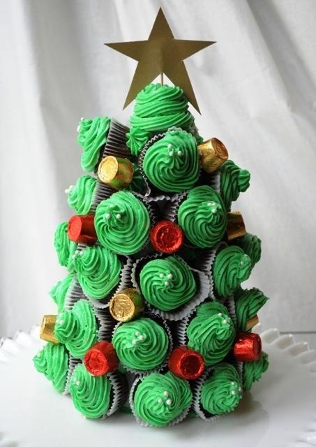 Cupcake Christmas Tree  1 box of cake mix made into mini cupcakes  Peppermint extract (optional)  Buttercream frosting  Cake decorating tools (thanks Colette! I'm putting my birthday present to use:)  Green Food Coloring  Toothpicks  Colorful Candies (I used rolos with red and gold packaging)  4×9 i