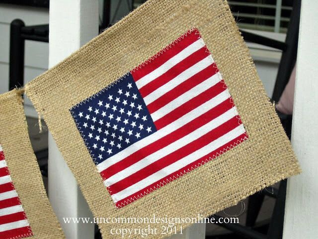 Supplies Needed For American Flag Burlap Banner…  American flags {these came in a 3 pack in the Target dollar spot!} Burlap fabric Jute Twine Sewing machine and thread