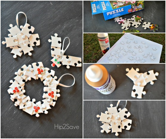 "Wreath: Glue about 18 pieces into a circular shape. Add embellishments. You can also personalize this and glue a photo to the back. Loop a ribbon and glue to hang.  Reindeer: Glue two ""antler"" pieces to a ""head"" piece and repeat for the other ""antler"". Glue eyes and a nose. Tie ribbon to hang"