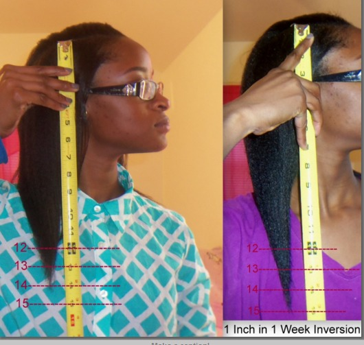 Left: hair 14 inches Right: 15 inches, 1 inch after a week