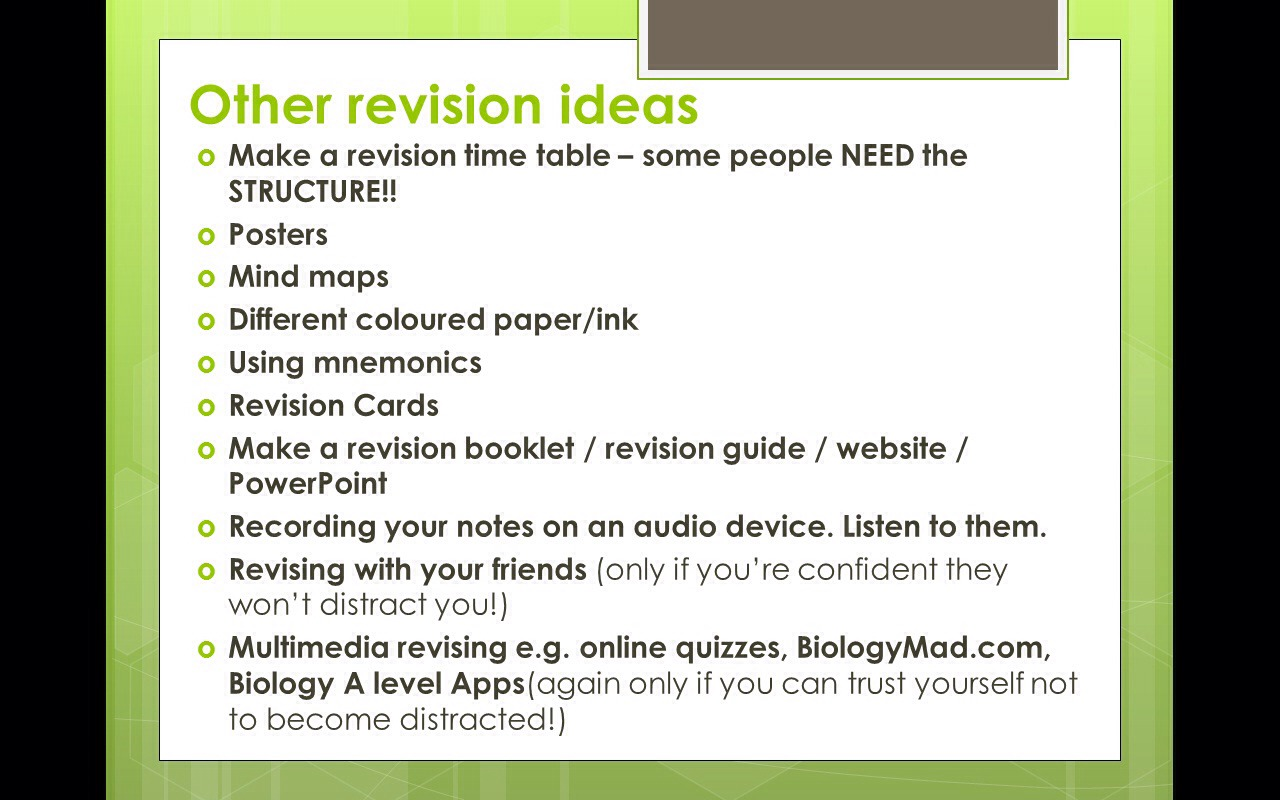 musely find the revision technique to suit you there are some ideas shown above i