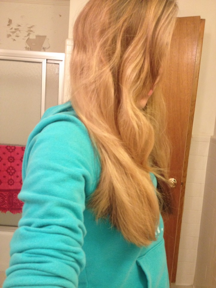 Wash your hair the night before. Leave your hair alone all day. My hair is wavy because it was in a bun all day.