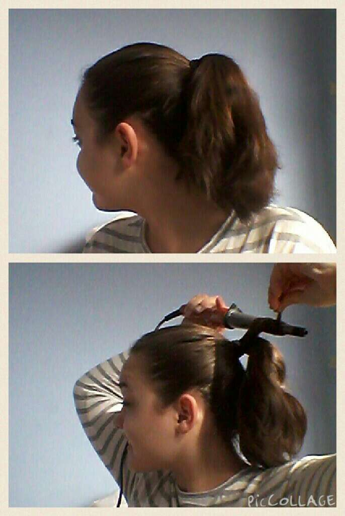 Put your hair in to a high ponytail. Curl small pieces of hair with a curling wand.