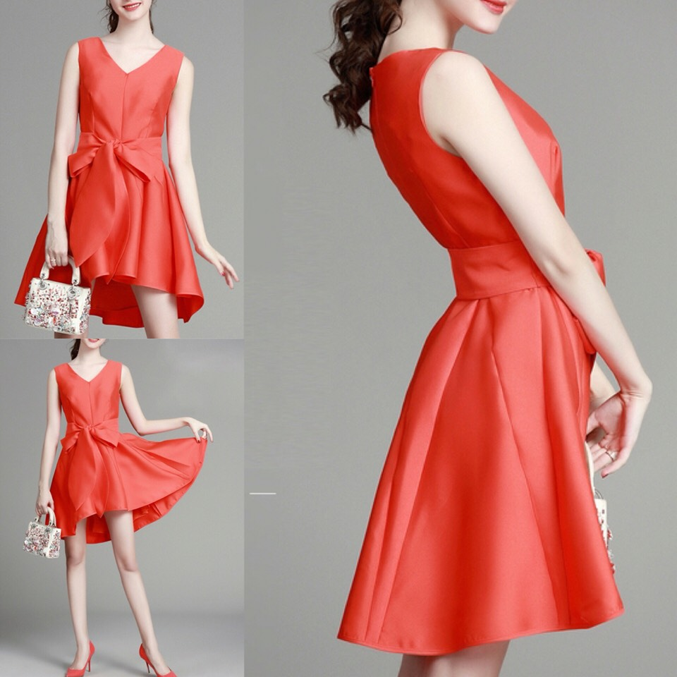$58.99 http://m.romwe.com/Orange-V-Neck-Bow-Waist-High-Low-Dress-p-151302-cat-664.html