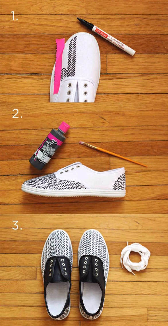 6. You can also use fabric paint to easily fill in one part of the sneaker while reserving the paint pen to make the pattern. Be sure to tape on the sole so you don't get it dirty.