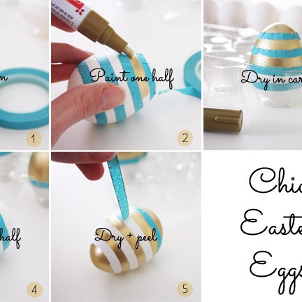 1.)you need tape! 2.) wrap the tape around the egg 3.) paint on the untapped area 4.) let dry 5.) peel off the tape and do more!