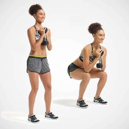 3. Goblet Squat This move targets the butt, quads, inner thighs and hamstrings •Stand with feet wider than shoulder-width apart, toes turned out, holding handle of a single dumbbell vertically with both hands in front of chest (like a goblet), elbows bent out to sides. •Squat, bending knees 90 degrees. Make it harder: Holding weight in place, jump up slightly as you rise out of squat, landing with knees soft. •Do 2 to 3 sets of 15 to 20 reps.