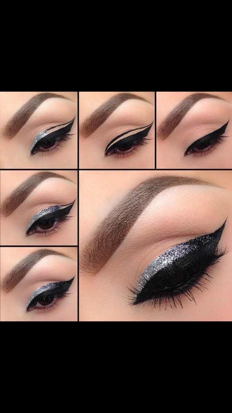 Glittered eyeliner look
