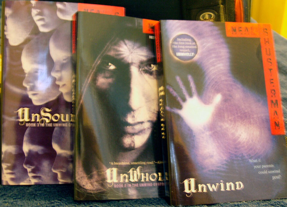 The unwind series by Neil Shusterman. Unwind takes place in a future where delinquents are 'donated' to be unwound. It's similar to dying except they remain aware. This book details a runaways escape and the dark history behind unwinding. There are only 3 books out right now with plans for more.