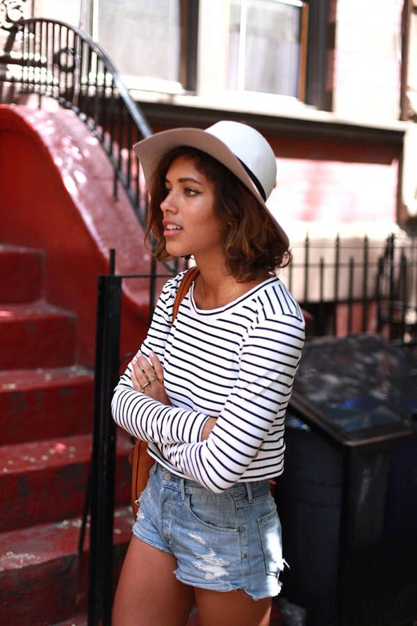 6. Instead of a striped dress, pair a panama hat with a striped shirt and denim shorts. So easy and chic!