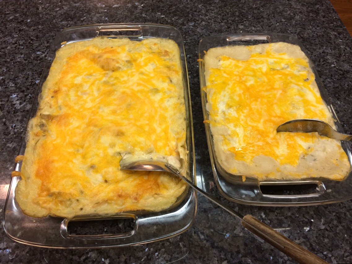 Casserole to the left has chicken and cream of chicken soup. Casserole to the right is vegetarian.