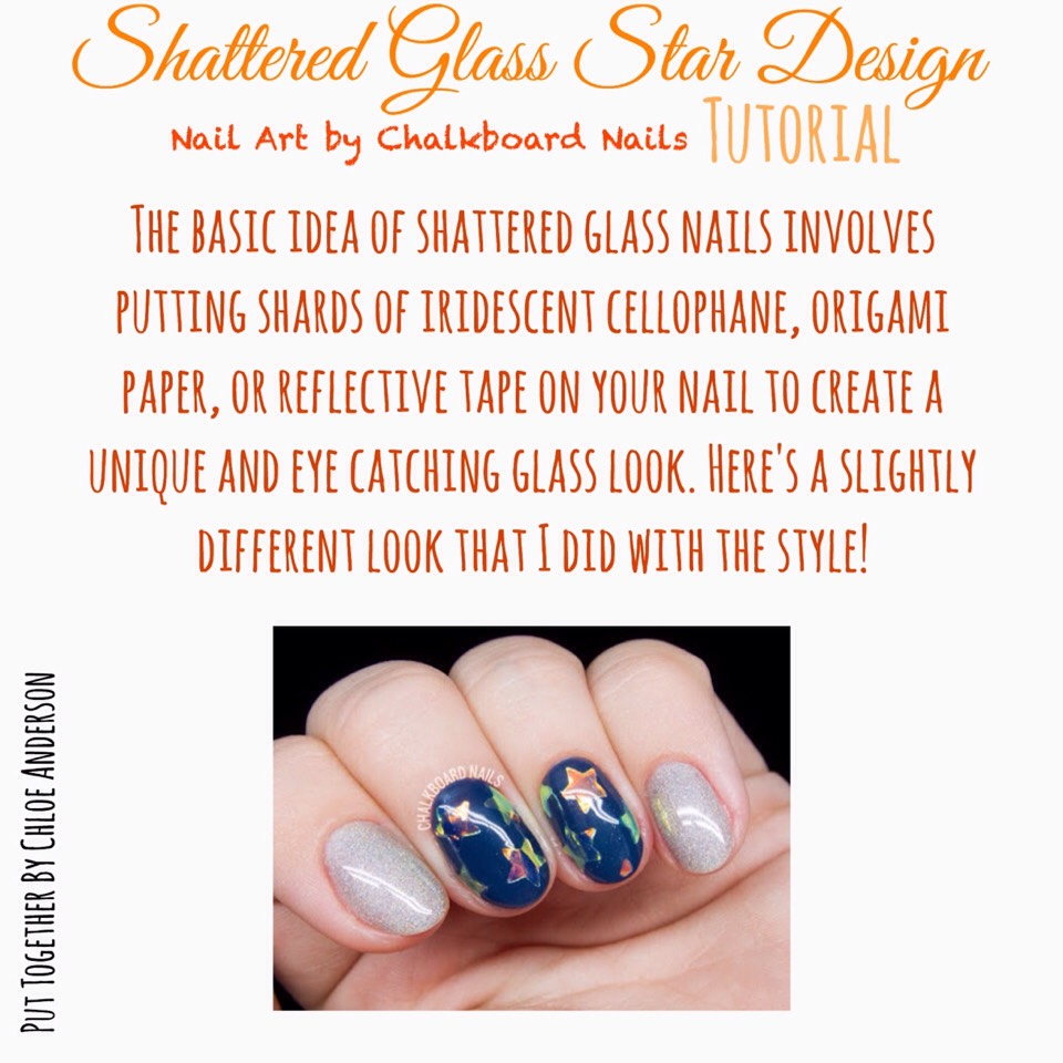 Want to figure out how to create this lovely nail art? VISIT | www.chalkboardnails.com/2016/10/star-shaped-shattered-glass-nail-art.html?m=1