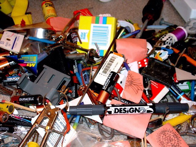 Contents of the junk drawer. You won't believe the garbage you find in there. A fun way to determine what to keep is to empty the contents into a box for a month. If you use something from the box, put it back in the junk drawer.