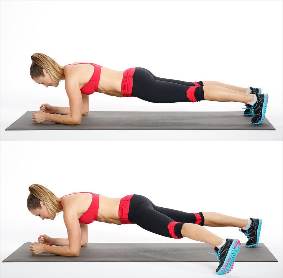 Circuit Two: Elbow Plank Side Step  Reps: 20, alternating sides
