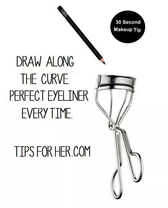 4. Curl your lashes and apply eyeliner all in one by drawing the pencil on the curler.