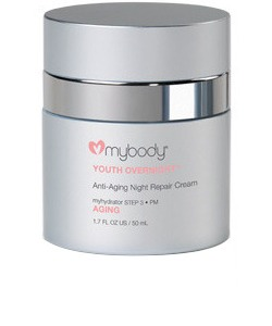 The Time Machine A splurge ($110) that is designed to boost your body's natural retinol production with its combination of peptides. Mybody's Youth Overnight Anti-Aging Repair Cream contains caffeine for tightening, ceramides, and shea butter—all great for aging.