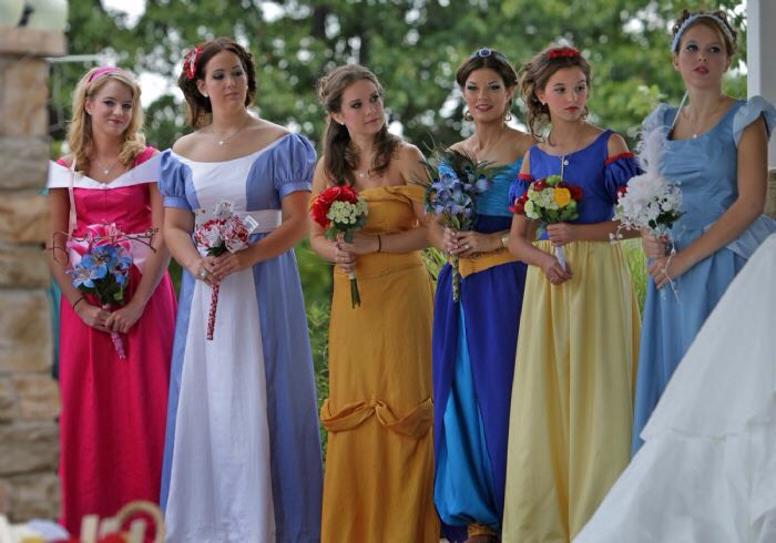 Great idea for your bridesmaids! They can even dress up as their favorite Disney princess