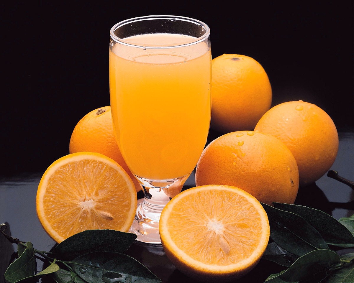 Drinking Orange juice,