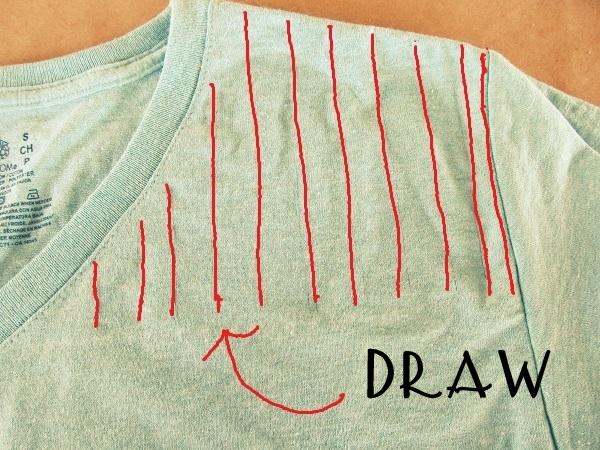 11 lines on each side of shirt