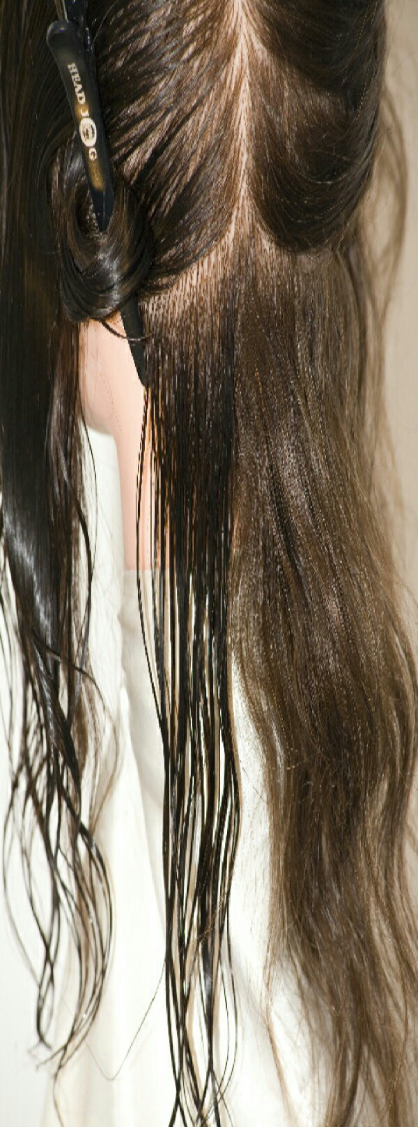Heat up a few spoonfuls of coconut oil (depends on hair) in the microwave until its a liquid. Then apply to every section of your dry hair!