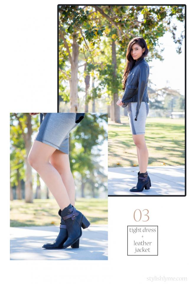 Form fitting dress with an awesome pair of black ankle boots Be a little more daring with your fall outfit and go bare legged. A form fitting long sleeve dress with a rocking black leather jacket was the perfect companion to the black ankle boots.