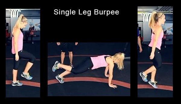 10 single leg burpee (each)