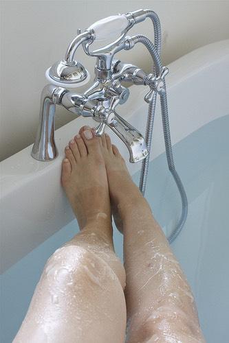 Rinse legs off then repeat exfoliate