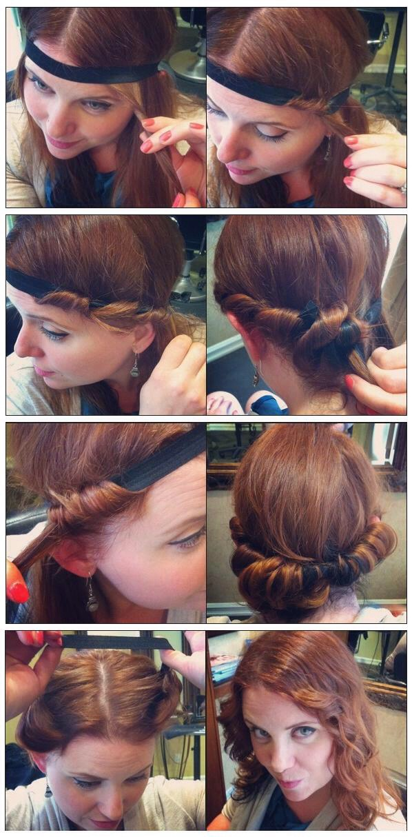 Grab a strand of your hair and loop inside the headband repeat until hair is completely looped around head band