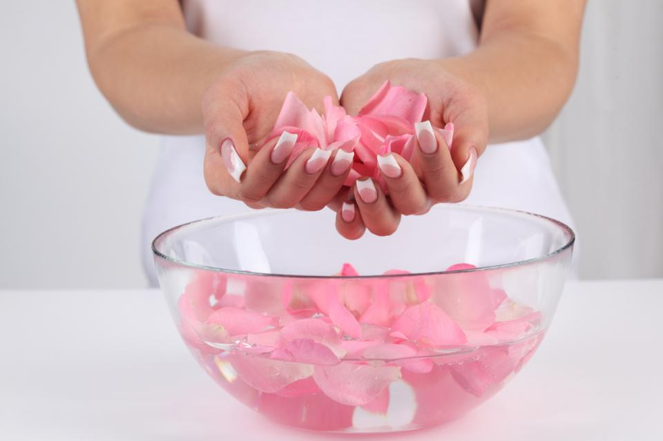 4. For brightening your nails, use rose water combined with glycerin and hydrogen peroxide.  a. Mix 40 ml of rose water to 10 gms of glycerin and 50 ml of 3% hydrogen peroxide and rub it on your nails using ball drenched with this mixture.