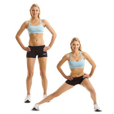 4. Side To Side Lunges This move targets the butt, quads, inner thighs, and hamstrings. 	•	Stand with feet hip-width apart, hands clasped in front of chest. Lunge forward with left leg (knees bent 90 degrees); return to start. 	•	Lunge left leg out to left, toes facing forward, and bend left knee 90 degrees. Return to start. 	•	Lunge backward with left leg to complete 1 rep. Repeat sequence with right leg. 	•	Do 2 to 3 sets of 15 to 20 reps, alternating sides.