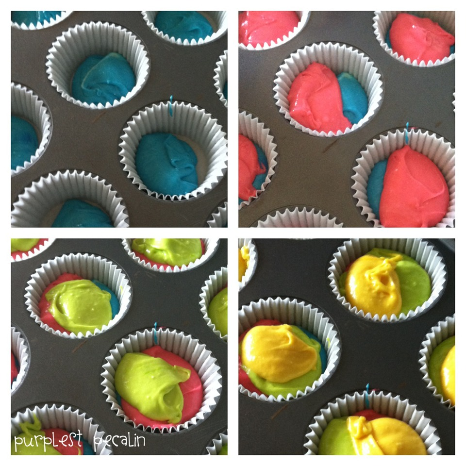 Then, put the colored batter into the cupcake pan however you want