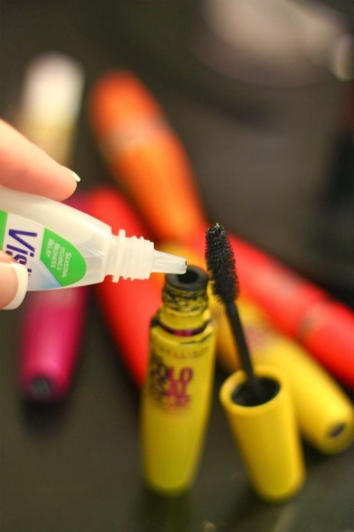 Just add 3-4 drops of saline solution or eye drops! Mix with mascara wand and make the mascara last 3x longer!