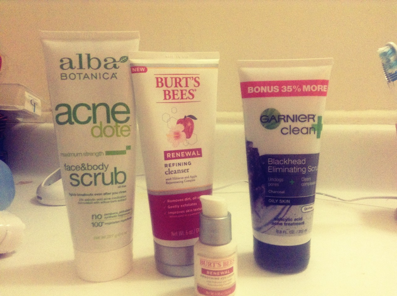 If u use alba acne dote,Burt's bees renewal refining cleanser,garnier clean blackhead remover and Burt's bees renewal smoothing eye cream your face becomes smoother,less oily, and has less acne and has no blackheads