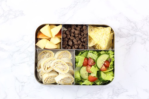 2 | American Lunch Combo Turkey, cheese, apples, popcorn, chocolate chips…need I say more?!  1.Turkey, cheese & mayo wrap 2.Garden salad 3.Apples 4.Popcorn chips 5.Chocolate chips