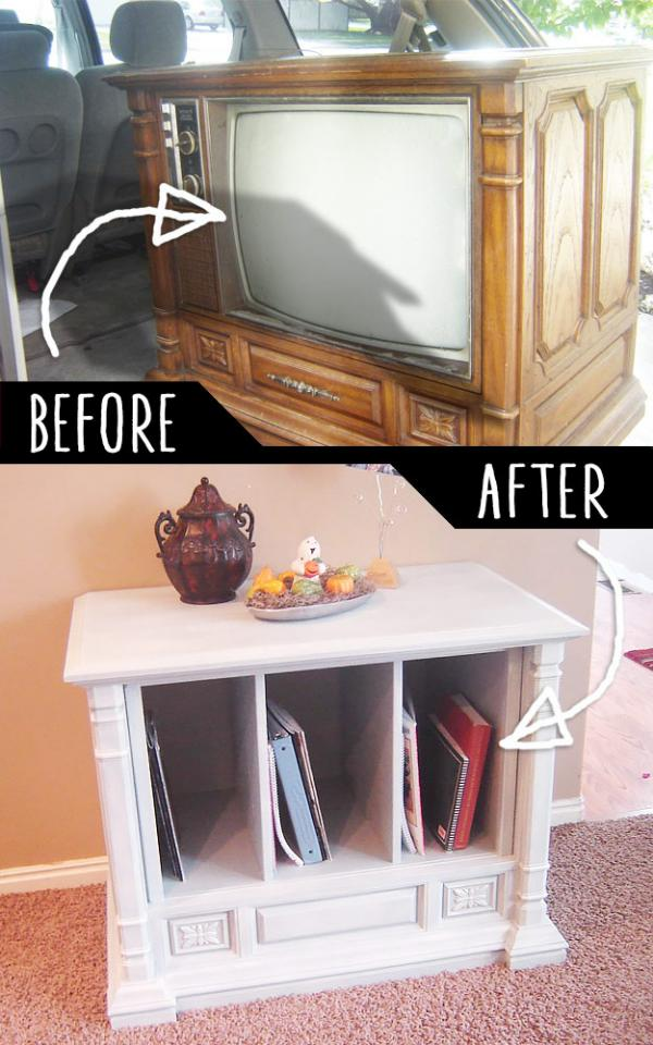 Trash To Treasure Curb Side TV Transformation   http://www.homehinges.com/2010/10/06/curbside-tv-to-living-room-feature/