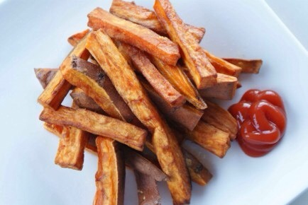 Oven-Baked Sweet Potato Fries  Fries don't have to be grease-laden bombs. Oven-baked sweet potatoes can be a healthy and delicious treat!