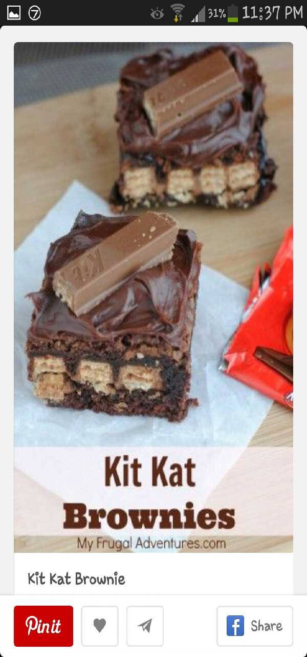 Prep time: 10 mins Cook time: 25 mins Total time: 35 mins Serves:12  Ingredients ¾ C. flour 2 C. semi-sweet chocolate 2 tbs cocoa powder 4 tbs. butter 3 eggs 1 ½ C. sugar ½ C. packed brown sugar 1 tsp. Vanilla extract 1 tsp. Baking powder ½ tsp. Salt 8 packages of Kit Kat candy bars (you will need approximately 16 Kit Kat bars total) 8×8 or 9×9 baking pan Frosting ingredients - ¼ C. butter or margarine, softened ⅓ C. cocoa 2 C. powdered sugar 1 tsp. Vanilla 3 tbs milk