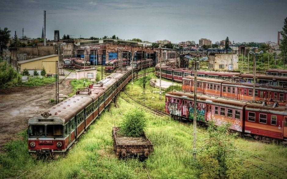 Częstochowa, abandoned train station in Poland