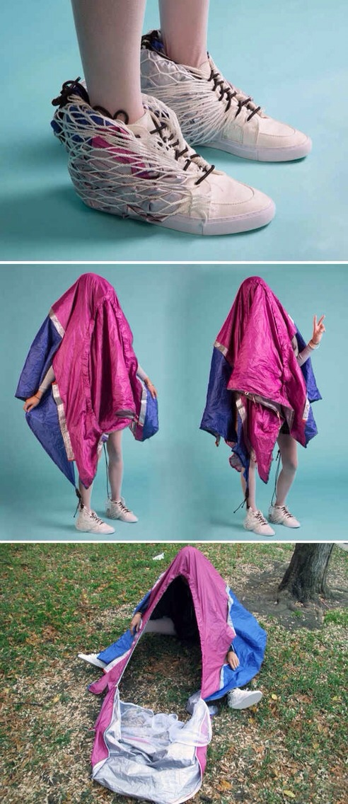 3. Shoes that easily transform into a mobile shelter.