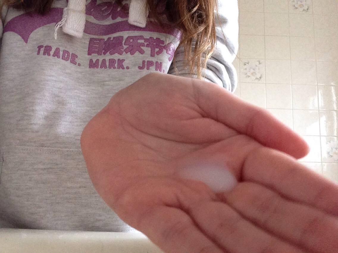Then put a little on your hand and fill your sink with warm water