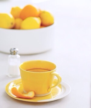 Citrus Peel as Coffee Mug Cleaner Remove coffee or tea stains from a mug by rubbing them with a lightly salted citrus peel.