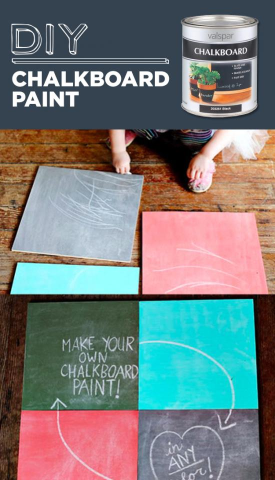 10. DIY Chalkboard Paint  Mix 1 cup of latex house paint or acrylic craft paint with 1 tablespoon of non-sanded tile grout. Mix together until there are no lumps.