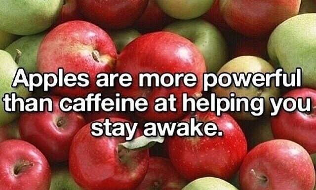 Apples are more powerful than caffeine at helping you stay awake