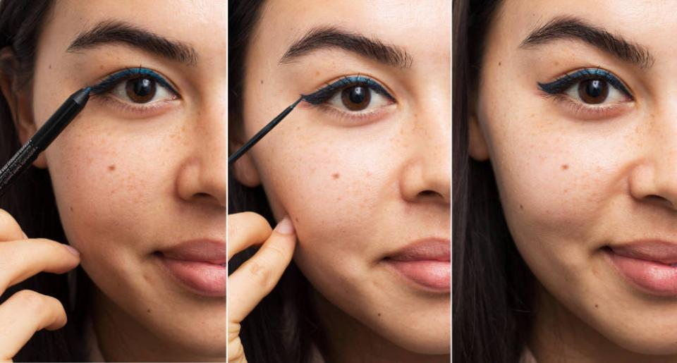2. Use a pencil liner as a guide for tricky liquid liners. If your hand isn't steady enough for liquid eyeliner, line your eyes first with a pencil liner, and then trace over it with liquid.
