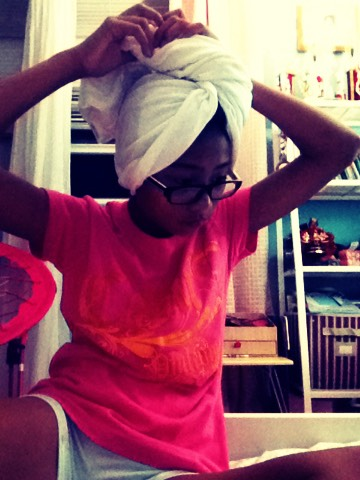 Wrap your hair in a T shirt when you come out of the shower because it makes your hair dry less frizzy
