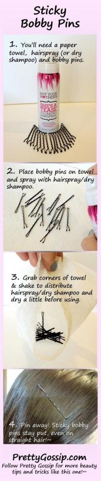 9. Turn your bobby pins into sticky bobby pins if you have slippery straight hair.