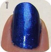 Start with blue nails with a layer of top coat