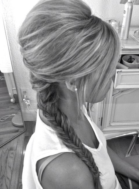 Tease your hair before braiding to get a much fuller look.