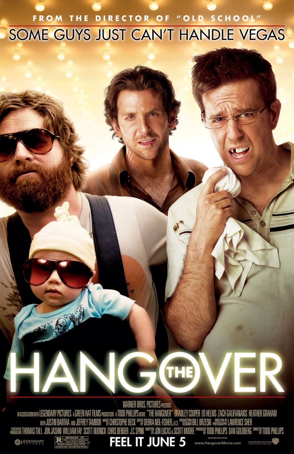 The hangover, 2009 American comedy film. Starring Bradley Cooper, Ed Helms, Zach Galifianakis, Justin Bartha and Ken Jeong. 😝 such a funny film!!! With have you laughing out loud 😂😂😝 its got that slight twist and causes suspense which makes you not want to stop watching it!!! 😝😝