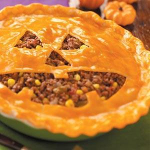 Jack-o'-Lantern Sloppy Joe Pie recipe!